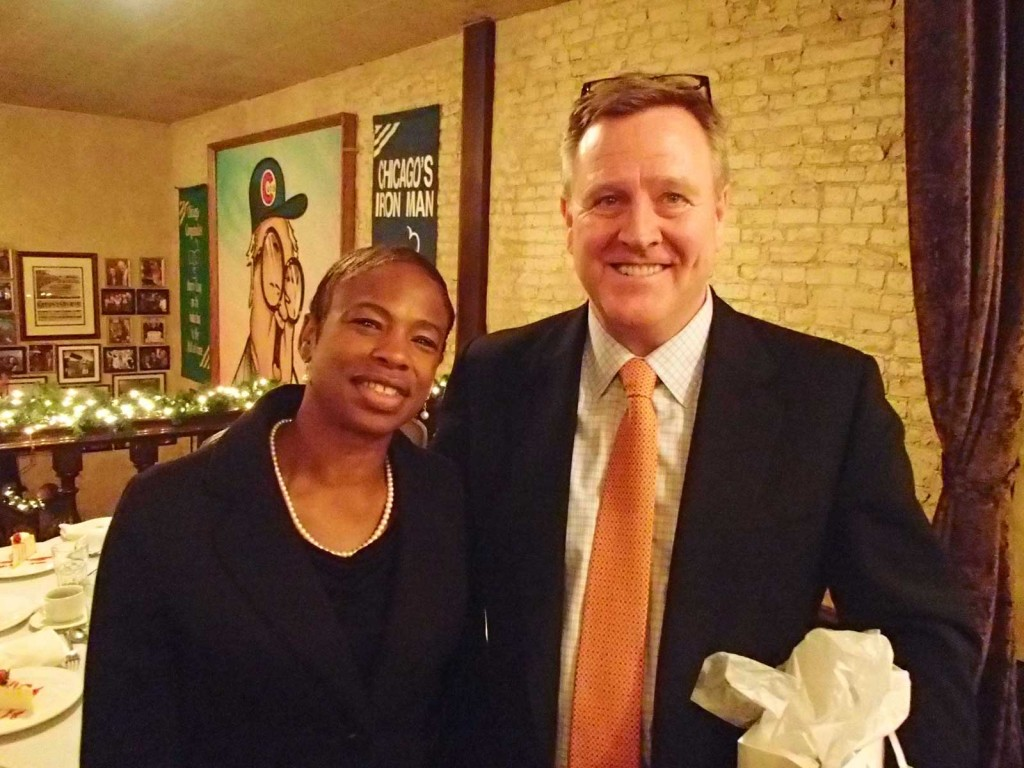 Dr. Sonya Wesley meets with U.S. Olympic Committee CEO Scott Blackmun during a luncheon in Chicago. Blackmun was awarded the Academy's Eagle Award, its highest honor, on Oct. 21, 2013.