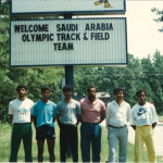 Athletes of the 1984 Olympic Saudi Athletics Team on the Academy campus as they prepared for the Los Angles Games.