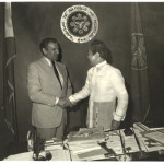 Philippine President Ferdinand Marcos greets Academy President Thomas Rosandich at Malacanang  Palace in Manila.
