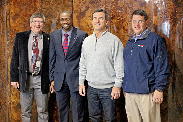 From left, United States Sports Academy faculty members Dr. Stephen Butler and Dr. Brandon Spradley  welcomed University of South Alabama Head Football Coach Joey Jones and his  Director of Football Operations, Brendt Bedsole, when they visited the Academy on February 25.