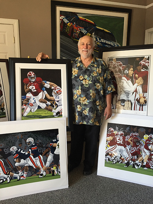 For more than 40 years, Rick Rush has captured the world of sport through his colorful and energetic works of sport impressionism.  He says the success of college football in the South has given him great inspiration in recent years.