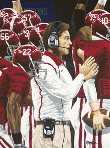 Coach Nick Saban and his five combined college football national championships at Louisiana State University and the University of Alabama inspired this piece by Rick Rush.