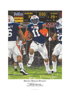 """Destiny Defeats Dynasty"" is how artist Rick Rush described the game in which a missed field goal by the University of Alabama with one second left allowed Chris Davis of the Auburn University Tigers to return the ball for 109 yards, a touchdown, and a win in the 2013 Iron Bowl, 34-28."