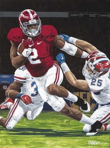 "109 yards, a touchdown, and a win in the 2013 Iron Bowl, 34-28. ""Henry's Heisman,"" Rick Rush's newest piece for 2016, depicts Heisman Trophy winner Derrick Henry of the University of Alabama stiff-arming a University of Florida Gators defender in the 2015 SEC Championship game."