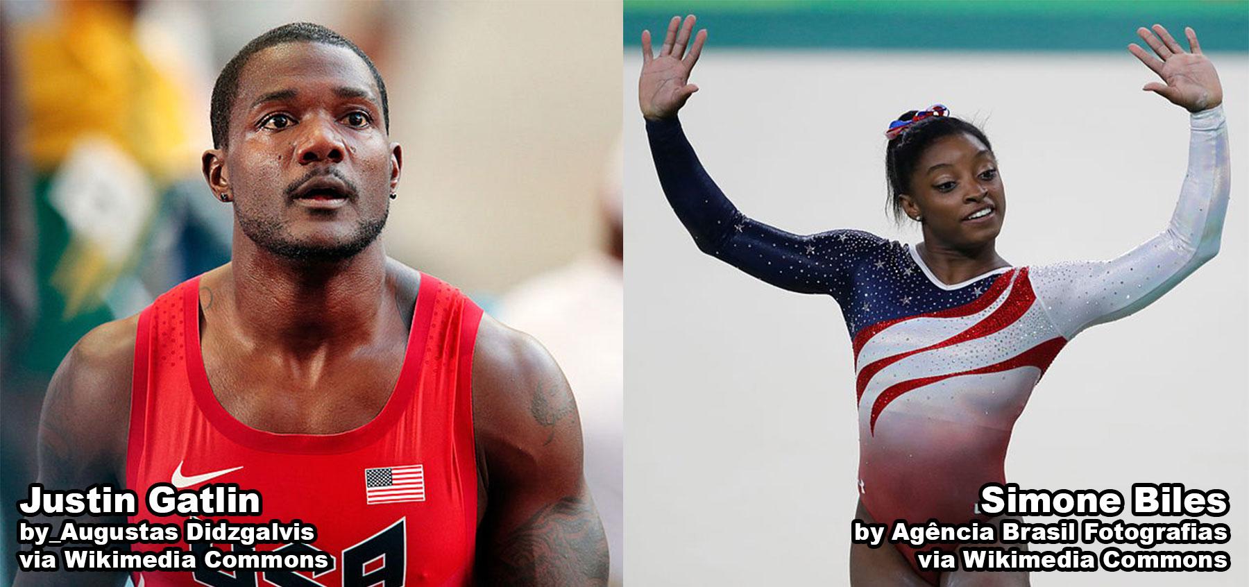 Sprinter Justin Gatlin and Gymnast Simone Biles