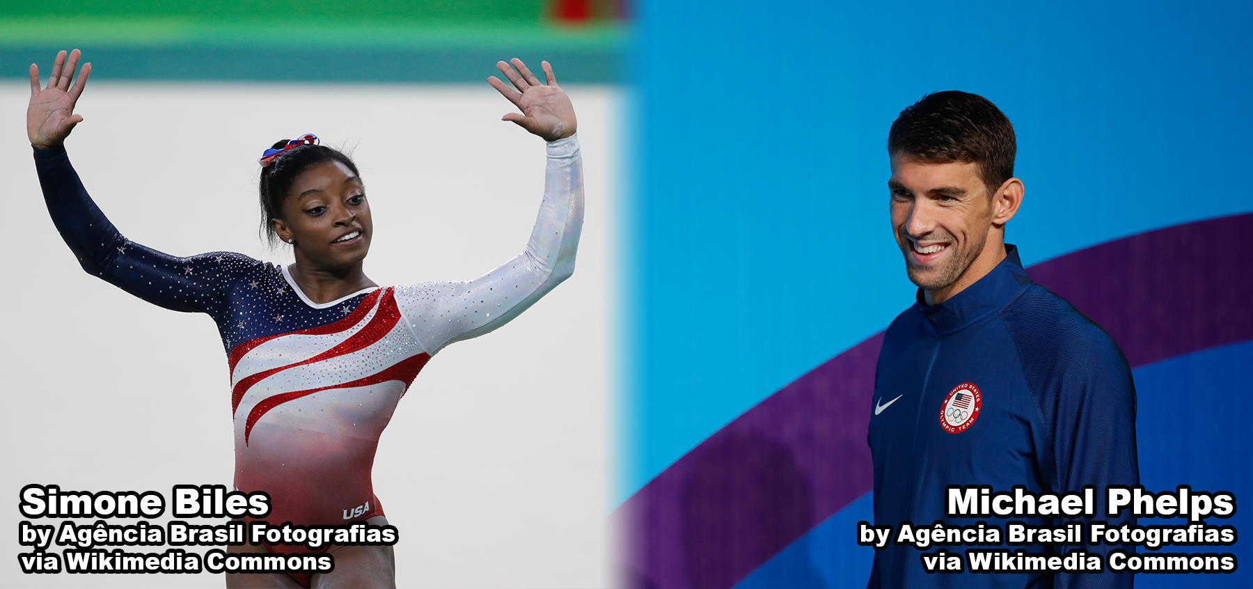 Simone Biles and Michael Phelps