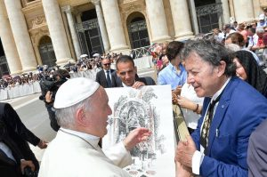 Charles Billich with Pope Francis