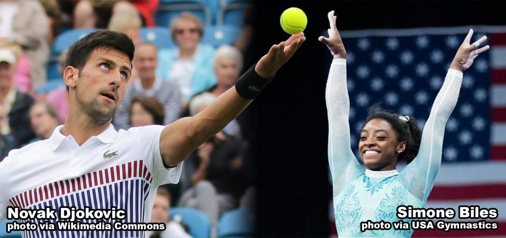 Novak Djokovic and Simone Biles