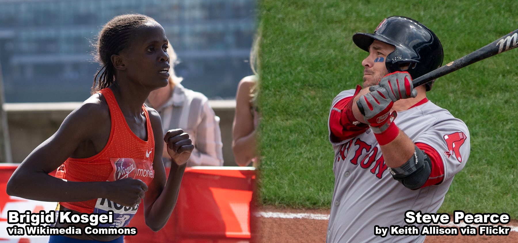 Steve Pearce and Brigid Kosgei