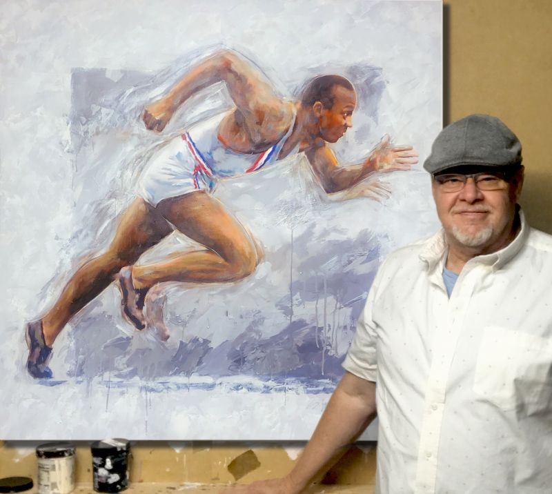Steven Lester with Owens Painting
