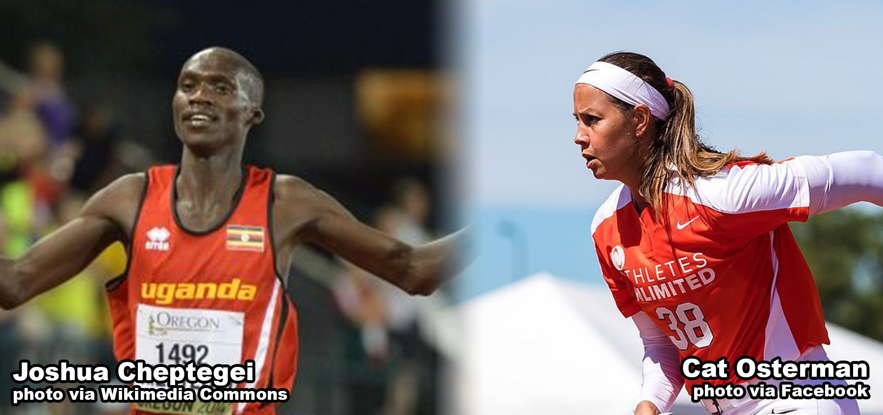 Joshua Cheptegei and Cat Osterman